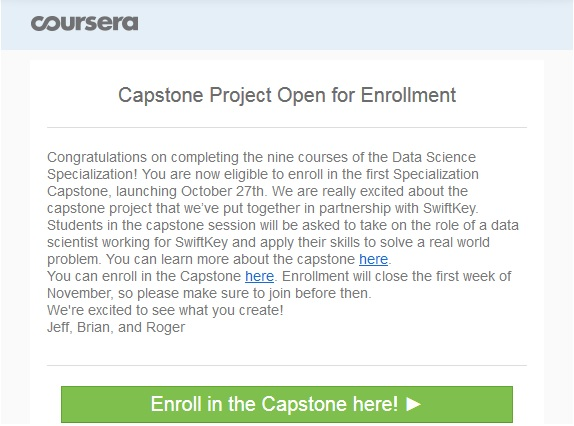 JHU Data Science Capstone is here!